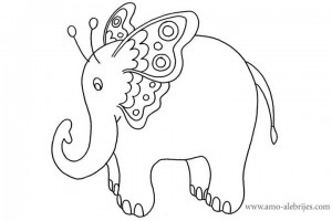 dibujos para dibujar elefante mariposa