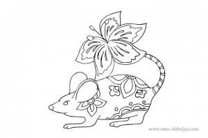 dibujos para dibujar alebrijes rata con flor