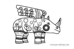 dibujos para dibujar rinoceronte con alas
