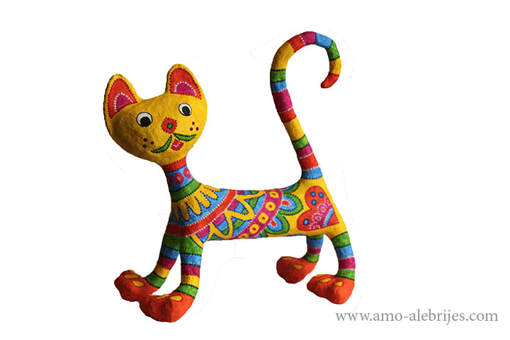retratos de alebrijes gato alegre