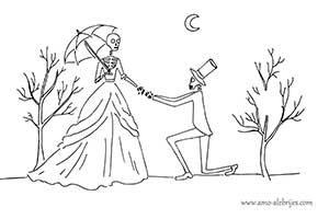 dibujos de catrinas pareja de catrinas